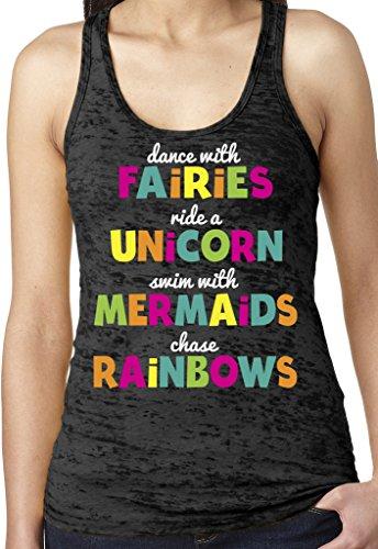 SoRock Fairies, Unicorns, Mermaids & Rainbows Burnout Tank Top Small (Fairy Tank Top Shirt)