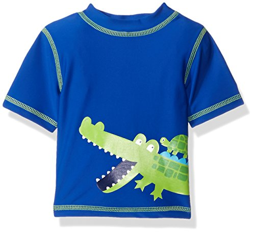 UPC 883953780560, Little Me Baby Boys' Short-Sleeve Rashguard Swim Shirt UPF 50+ , Blue, 24 Months