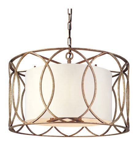 Chandeliers 5 Light with Silver Gold Finish Hand-Worked Wrought Iron Material Candelabra 25 inch Wide 300 Watts