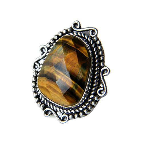 African Designer Ring (Tiger Eye Ring Silver Plated Ring Handmade Designer Ring Jewelry, (Ring Size 7 USA) AH-7769)