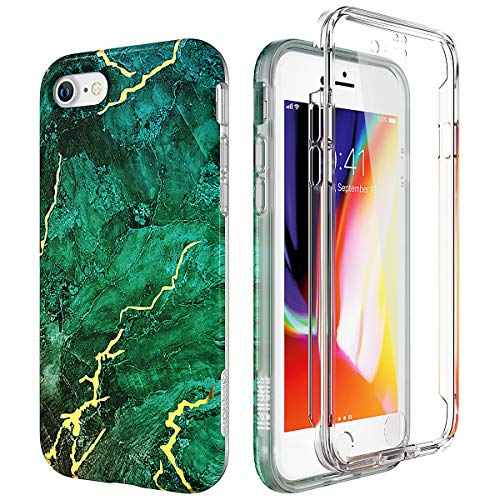 (SURITCH Marble iPhone 8 Case/iPhone 7 Case, [Built-in Screen Protector] Full-Body Protection Hard PC Bumper + Glossy Soft TPU Rubber Gel Shockproof Cover Compatible with Apple 7/8- Green/Gold)