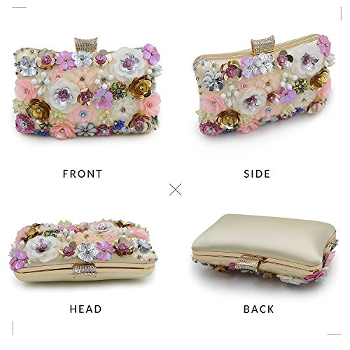 Sequins Clutch Flower Clutches Toogoo Women Purse Colorful Bag Evening 0vY07qTw