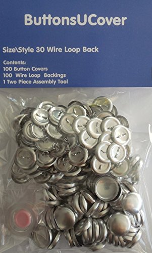 - 100 ButtonsUCover Cover Buttons with Wire Loop Back Size 30 and Assembly Tool Kit
