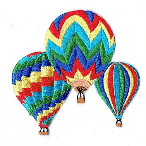 Soaring Hot Air Balloon - Colorful Three Striped Hot Air Balloons Iron on Embroidered Patch