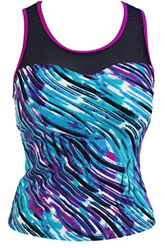 - Aleumdr Purple Trim Greenish Graffiti Print Mesh Splice Tankini Top Medium