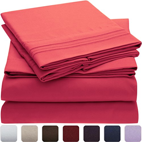Mellanni Bed Sheet Set - HIGHEST QUALITY Brushed Microfiber 1800 Bedding - Wrinkle, Fade, Stain Resistant - Hypoallergenic - 3 Piece (Twin XL, Hot Pink) (Hot Pink Bed Sets)