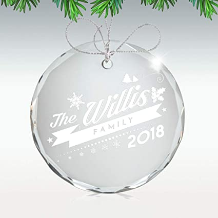 amazon com personalized glass christmas ornament our first