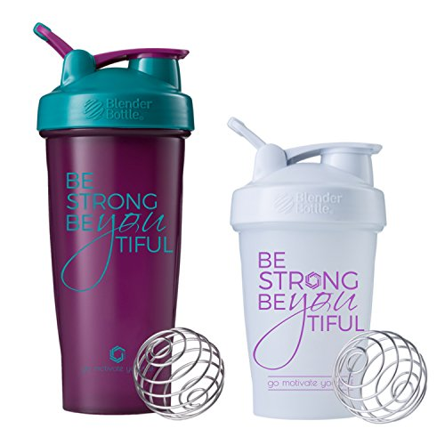 Be Strong BeYOUtiful Blender Bottle, 20oz White/Plum and 28oz Plum/Teal - 2pk Classic Protein Shaker Cup (Plum and White 2 pk)