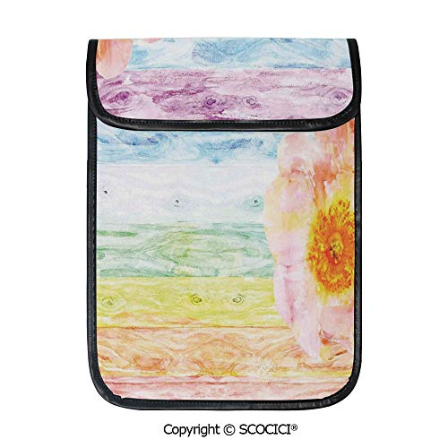 SCOCICI Shockproof Tablet Sleeve Compatible 12.9 Inch iPad Pro Wild Rose Flower On Wooden Colored Watercolor Art Summer Floral Beauty Print Tablet Protective Bag (Wooden Beads Coloured)