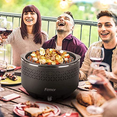 Femor Grill Barbecue Portable, Barbecue au Charbon de Bois Sans Fumée,avec Sacs de Rangement et USB ou ventilateur à piles, 3 Minutes de Préchauffage, pour Jardin, Balcon, Camping, 35 x 34 x 21.5cm