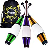 EURO PRO Juggling Clubs Set of 3 (GREEN/PURPLE/GOLD) Metallic Deco Trainer Clubs + Flames N Games Travel Bag! Great Club Juggling Set For Beginners & Advanced Jugglers!