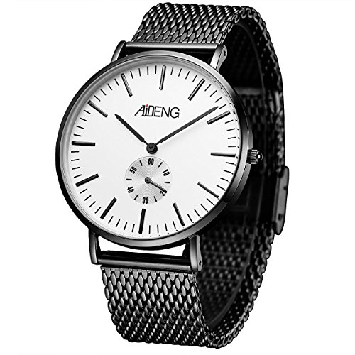 (Men's Wrist Watch Analog Quartz with Black Steel Mesh Band Luxury Design Stainless Steel Case 40mm)