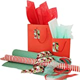 Complete Gift Wrap Set with 2 Gift Bags w/Tags, Ribbons, Wrapping Paper and Tissue Paper, All Occasions (Green)