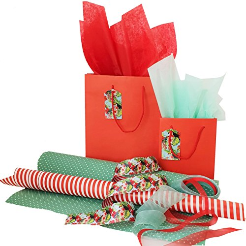 Complete Gift Wrap Set with 2 Gift Bags w/Tags, Ribbons, Wrapping Paper and Tissue Paper, All Occasions (Green) by Zentraedi