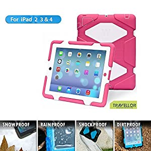 iPad Cases,iPad 2 Case,iPad 3 Case,iPad 4 Case,TRAVELLOR[Heavy Duty] iPad Case,Three Layer Armor Defender And Full Body Protective Case Cover With Kickstand And Screen Protector for iPad 2/3/4 - Rose/White