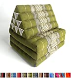 Leewadee Foldout Triangle Thai Cushion, 67x21x3 inches, Kapok Fabric, Green, Premium Double Stitched
