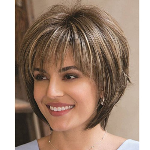 QianBaiHui Wigs for Women Short Fluffy Brown Mix Blonde Hair Wigs with Bangs Heat Resistant Synthetic Hair Wig + Wig Cap (Brown Mix) LDS002