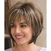 QianBaiHui Wigs for Women Short Fluffy Brown Mix Blonde Hair Wigs with Bangs Heat Resistant Synthetic Hair Wig + Wig Cap (Brown Mix)