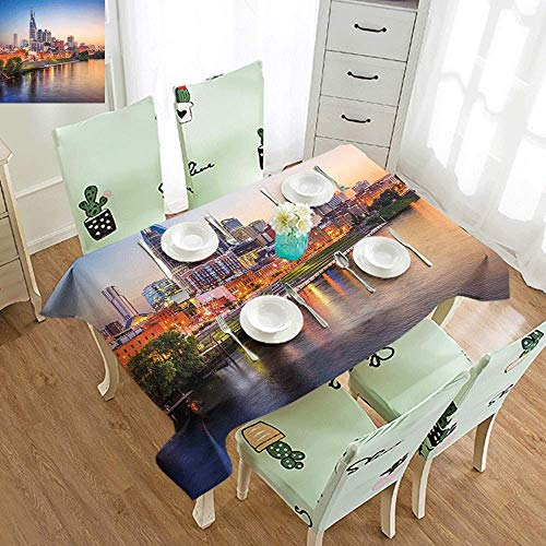DILITECK Wrinkle Resistant Tablecloth United States Cumberland River Nashville Tennessee Evening Architecture Travel Destination Excellent Durability W52 xL72 Multicolor