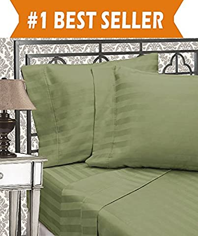 Elegant Comfort Best, Softest, Coziest 3-Piece Duvet Cover Sets! - 1500 Thread Count Egyptian Quality Luxurious Wrinkle Resistant 3-Piece DAMASK STRIPE Duvet Cover Set, Full/Queen, - Cotton Stripe Sage