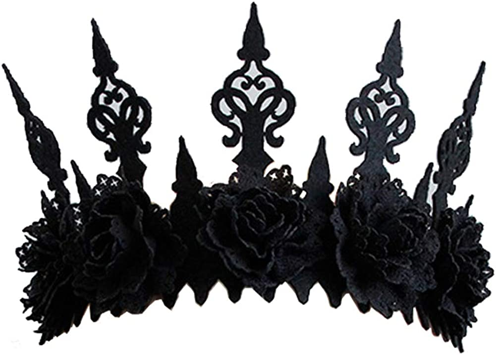 30182 CM Gothic Floral Women Headwear for Halloween Dancing Party Cosplay Masquerade Decoration-Black SHOKUTO 2Pcs Halloween Rose Crown Headband