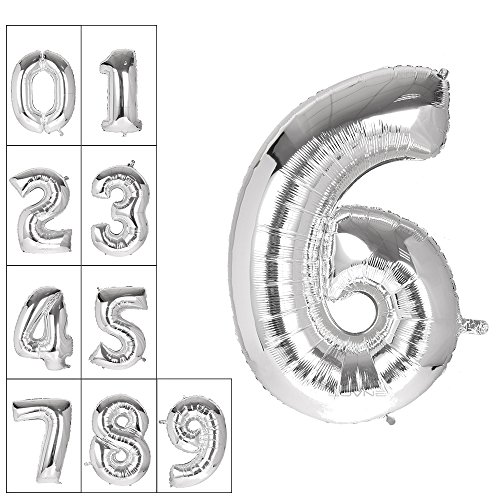 Lovne 40 Inch Silver Number 6 Balloon Birthday Party Decorations Helium Foil Mylar Letter Balloon (Party City Number Balloons)