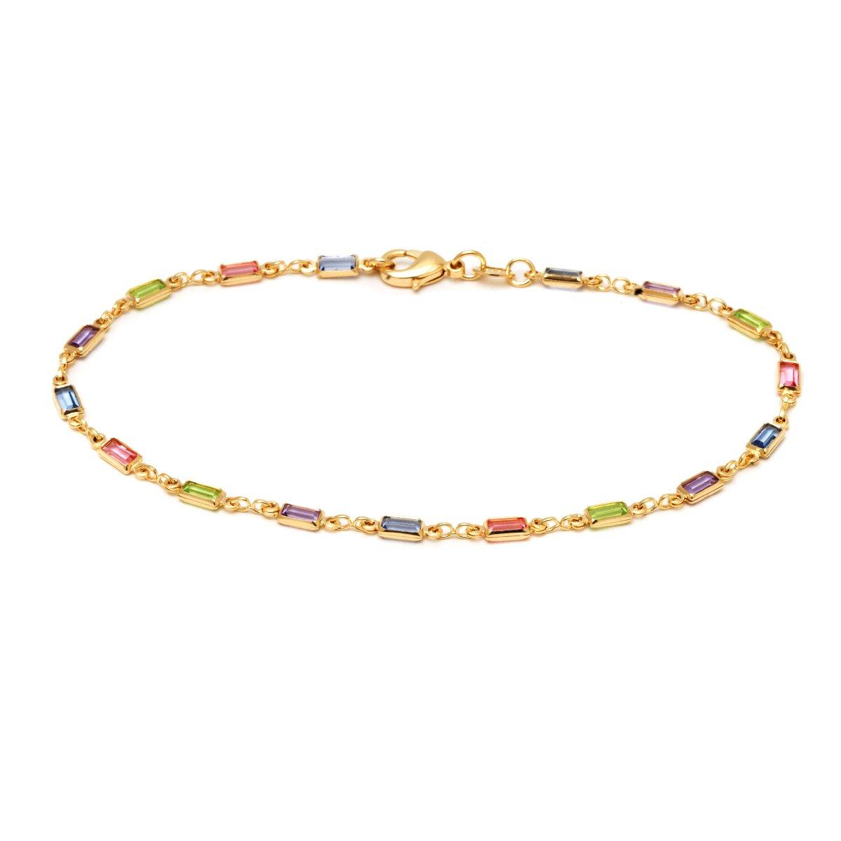 18K Gold Plated Gold and Multi Color Crystal Baguette Anklet SGS INTERNATIONAL BR199-10''