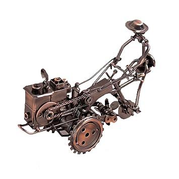 DCLINA Hierro Tractor Pequeño Chuchería, Retro Casa Vino Gabinete Estante Decoración Metal Artesanía Adornos,Brass: Amazon.es: Hogar