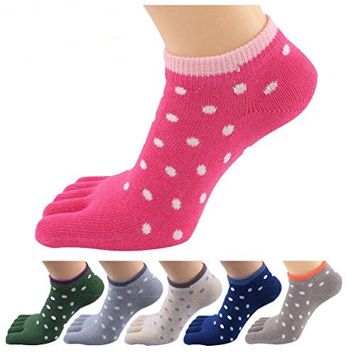 Socks Ankle Toe (HONOW Women's Low Cut Toe Socks Ankle Cotton Dots Running (Pack of 6))