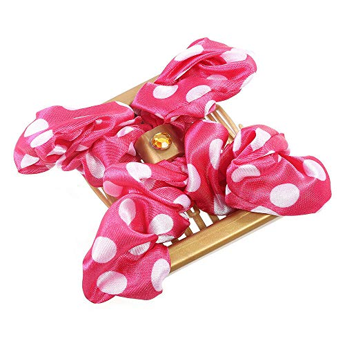 Womens Magic Hair Comb Bowknot Hair Clips Double Combs Stretchy Hair Accessories (Colors - rose red)