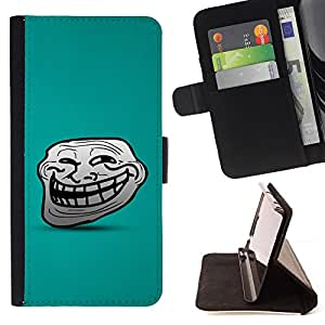 DEVIL CASE - FOR Apple Iphone 6 - Big Smile Cartoon Face Comic Character Teeth - Style PU Leather Case Wallet Flip Stand Flap Closure Cover