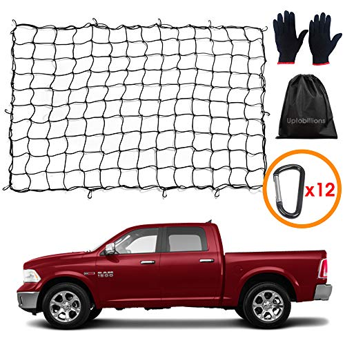 4' x 6' Super Duty Bungee Cargo Net Stretches to 10' x 14' for Truck Bed, Pickup Bed, Trailer, Trunk, SUV with 12 Aluminum Alloy D-Shaped clip carabiner Universal Heavy Duty Car Rear Organizer Net