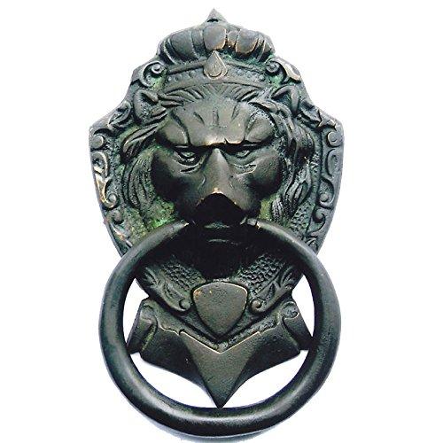 Aakrati Brassware Door Knocker of Lion Face - Meta Antique Finish Door Hardware Fitting Great Knocker for All Door - Unique idea for Gift