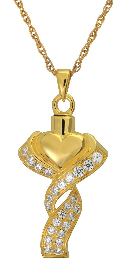Memorial Gallery MG-3067gp Ribboned Heart 14K gold Sterling Silver Plating Cremation Pet Jewelry