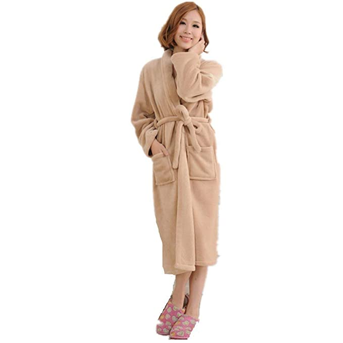 Camisones Mujer Hombre Elegantes Moda Color Sólido Ocasional Unisex Otoño Pijamas Mujer Invierno Pareja Batas Casuales Mujeres Manga Larga V-Cuello con ...