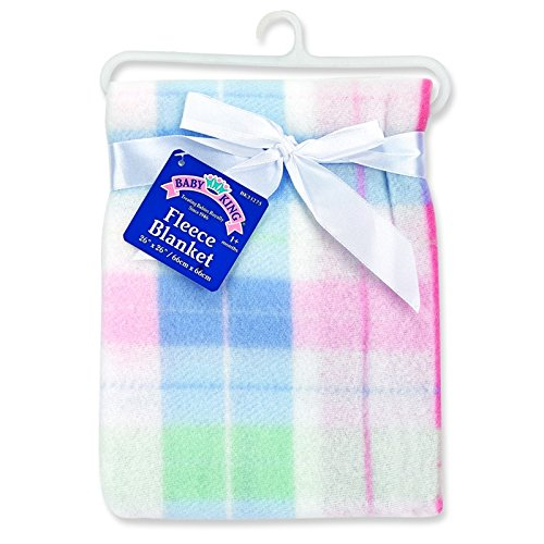 - Baby King Plaid Fleece Blanket (Pink)