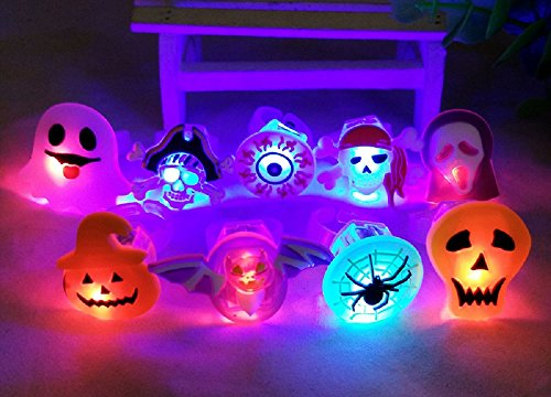 Ellelove Halloween LED Finger Lights For Kids and Adults Party Favor Pumpkin Skull Ghost Eye Light Up Novelty Flashing Rings Toy Gifts- 8 (Halloween Treat For Kids)