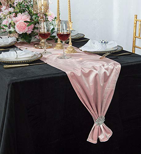"Wedding Linens Inc. 13"" x 108"" Italian Velvet Table Runners for Restaurant Kitchen Dining Wedding Party Banquet Events - Blush Pink"