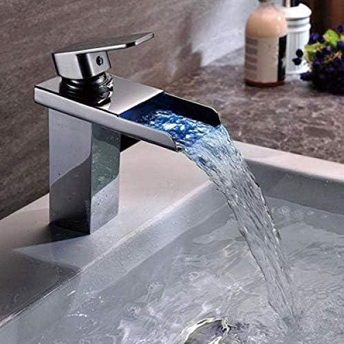DXX-HR バスルームのシンクは、スロット付き浴室の洗面台のシンクホットコールドタップミキサー流域の真鍮のシンクのクリエイティブの滝LEDルミナス洗面台の蛇口ホットとコールド洗面台変色洗面台の蛇口をタップ