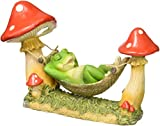 StealStreet SS-G-74006 Green Frog Sleeping in Hammock Tied to Mushrooms Solar Light Figurine