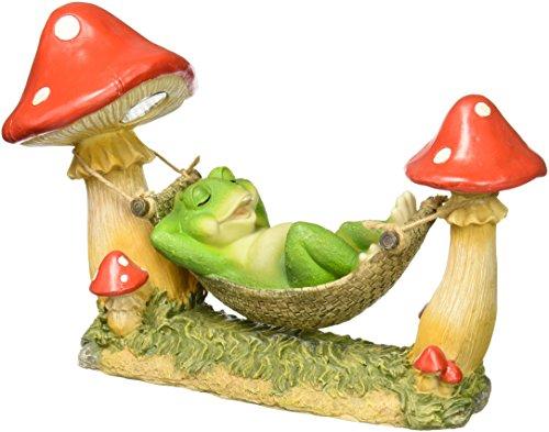 StealStreet SS-G-74006 Green Frog Sleeping in Hammock Tied to Mushrooms Solar Light Figurine by StealStreet