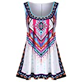 Bohemian Vest,Han Shi Fashion Womens Summer Plus Size Print Casual Tank Tops (White, 5XL)