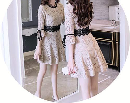 Lace 3/4 Sleeve Slim Tunic Draped Super Mini Dress Women Elegant Korean Sweet Sexy Dress,Khaki,L