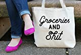 Groceries and Shit Tote Bag in Natural Color