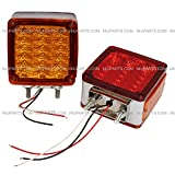 Pedestal Cab Fender Light 39 LED Square Double Stud 2 Face Red/Amber LH and RH - Free Shipping