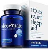 SleepMate Melatonin Plus Natural Sleep Aid – Herbal, Non-Habit Forming, Clinically Proven Sleeping Pill with Stress Relief, Sensoril, Valerian, Chamomile, L-Theanine, GABA, 5HTP, Magnesium (1 Bottle)