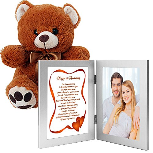 Romantic First Anniversary Gift with Teddy Bear - Love Poem in Double Frame with Your Photo