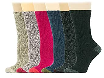Sumona 6 pairs / 4 Pairs Women Wool Cable Knit Knee High