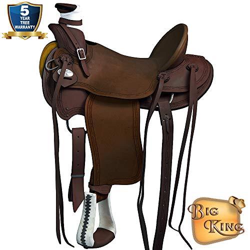 17'' HILASON Big King Western Wade Ranch Roping Horse Saddle Barb Wire Border