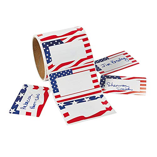 Fun Express - Patriotic Name Tags(100pc) for Fourth of July - Stationery - Stickers - Name Tags - Fourth of July - 100 -